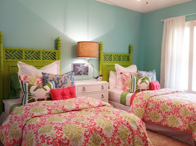 This Bright And Cheery Bedroom Was A Huge Hit! We Tied The Aqua Walls And Lime  Green Headboards Together With This Gorgeous Hot Pink And Green Damask ...
