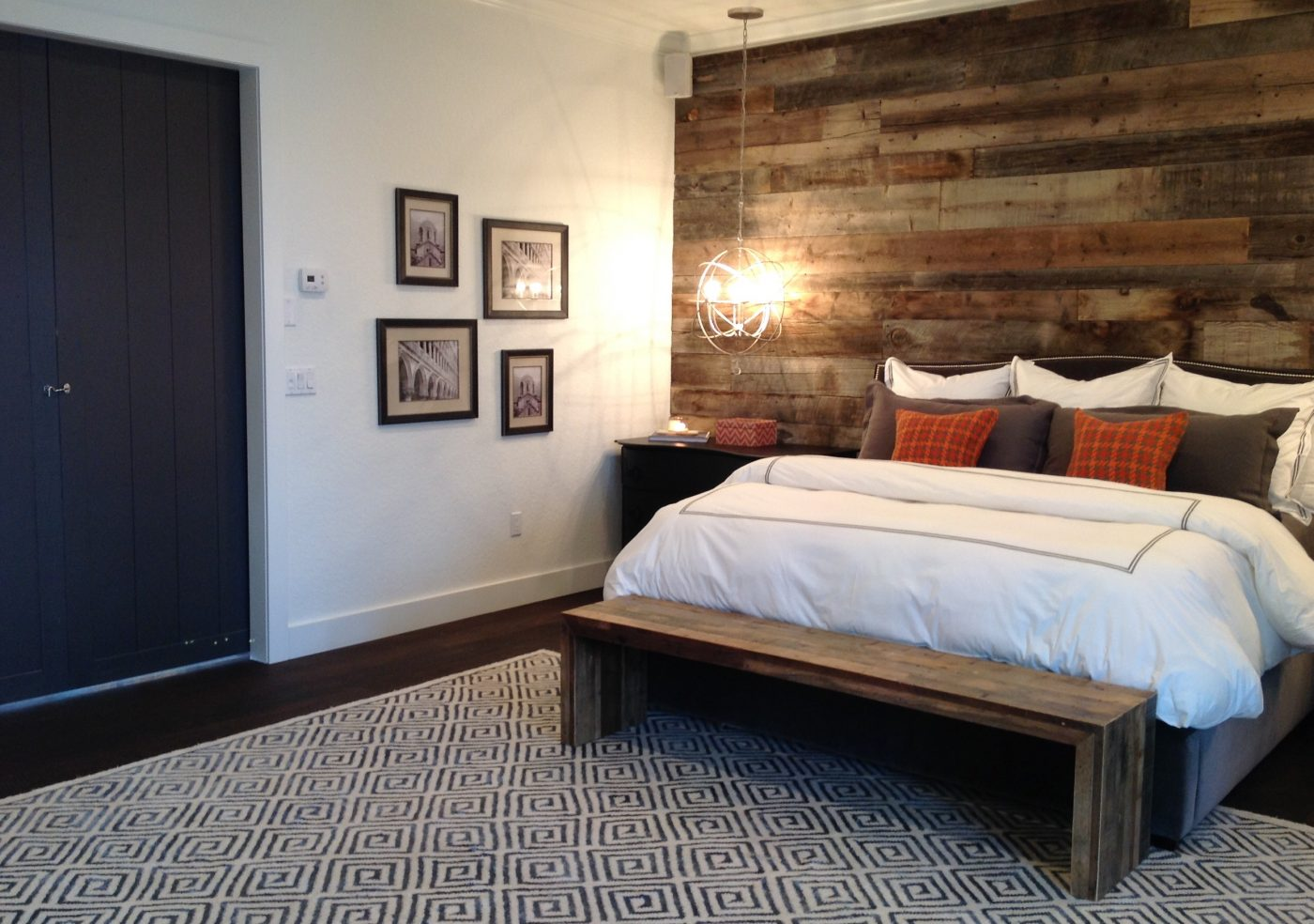 The new matte-finished, wood floors, and 100-year-old barn wood wall, truly gave these spaces a natural, organic feel!