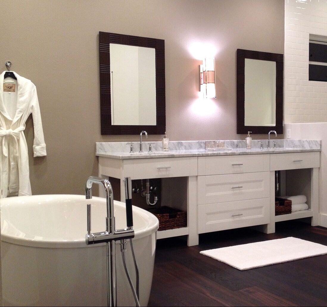 All three spaces are visible to one another - Sexy! New custom vanity!