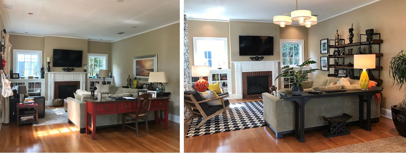 Before and After photo of the family room showcasing the homeowners African art collection. Black and white houndstooth rug sits beneath two gray mid-century modern chairs across from a sage green l-shaped sectional.