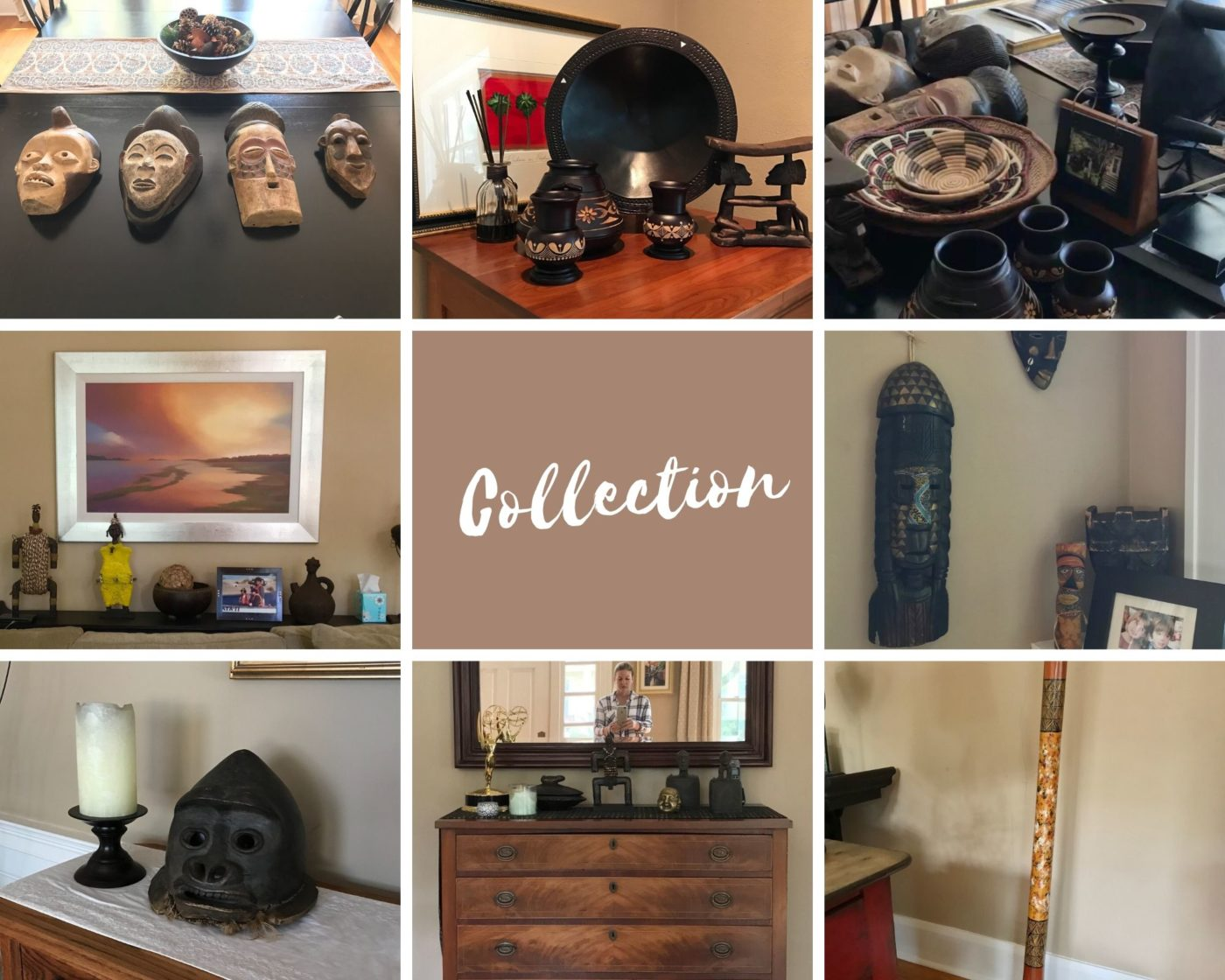 Collage of homeowners African art collection.